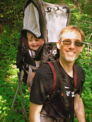 Dave hiking with baby carrier