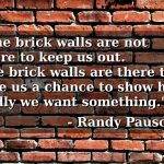 Randy Pausch brick walls quote