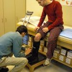 Dave getting boot for broken leg