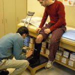 Dave getting boot for broken leg
