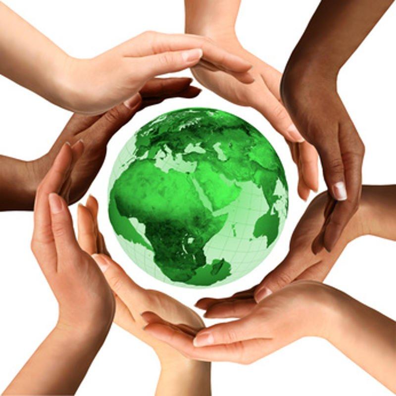 hands around globe