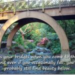 knowing there's also beauty below as we cross our bridges