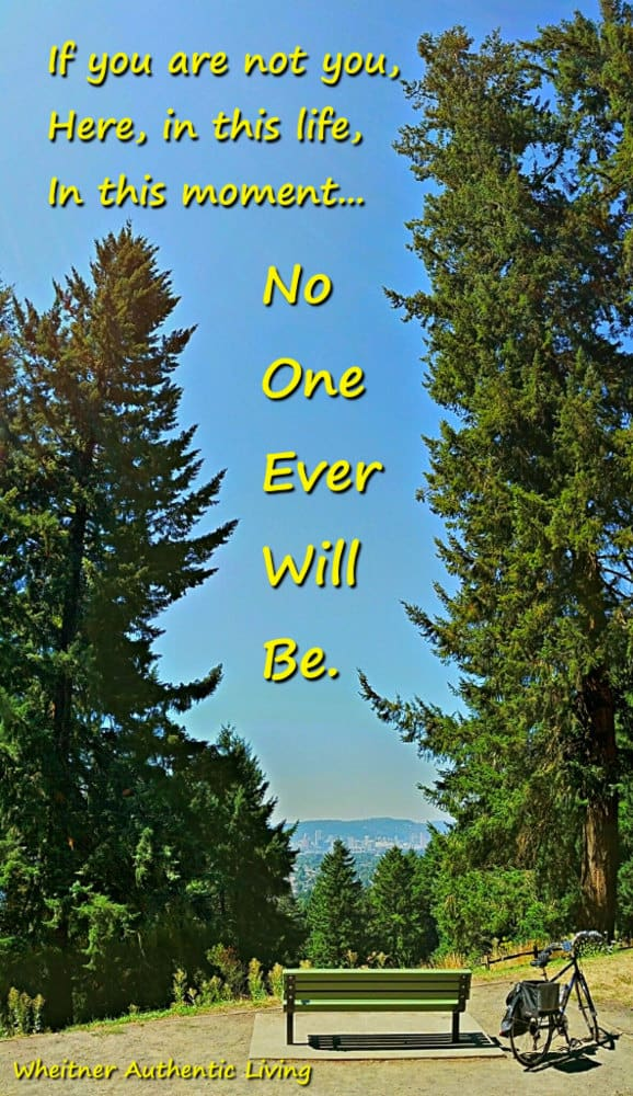 nature photo with trees, bicycle, and inspirational quote about authenticity
