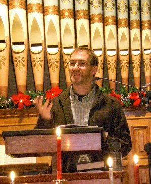 dave speaking at Unitarian church 1