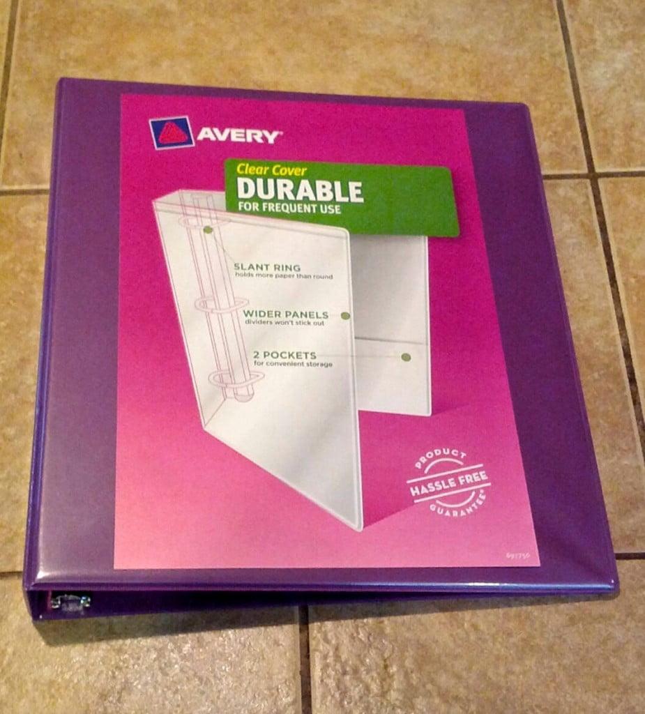 purple 3-ring binder for birthday gratitude & dream book