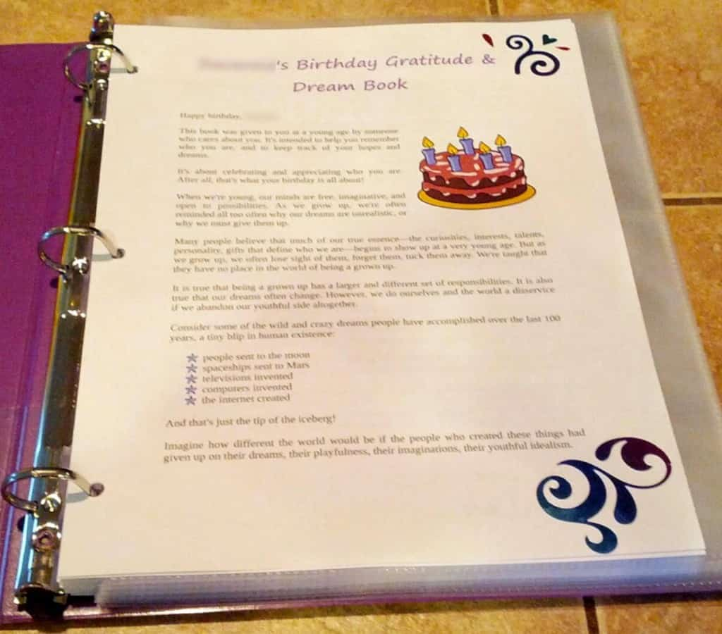 Birthday Gratitude & Dream Book intro page example 2 nameblurred
