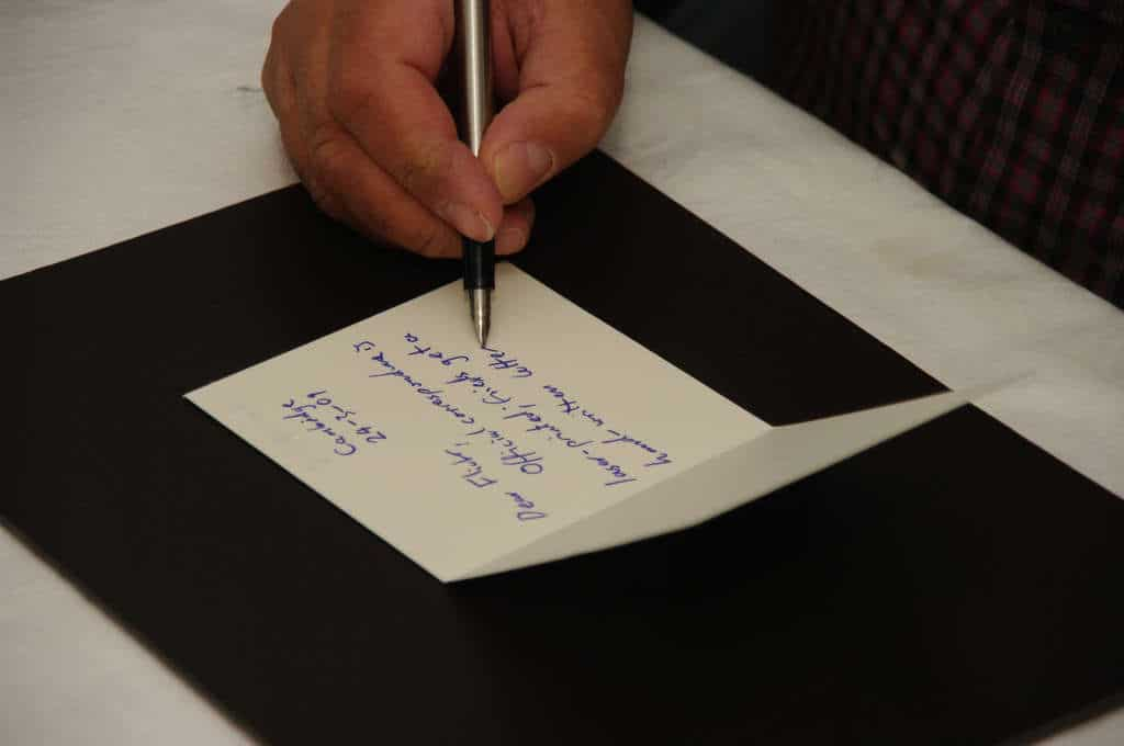 writing card or letter with gratitudes