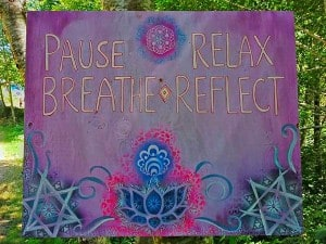 pause, relax, breathe, reflect
