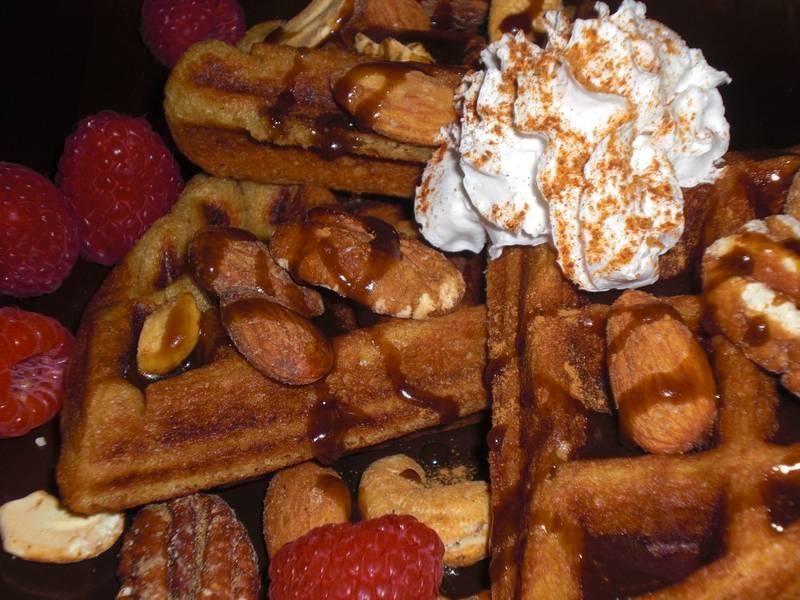 Sweet Yeast-Raised Vegan Waffles with Dark Chocolate Waffle Syrup