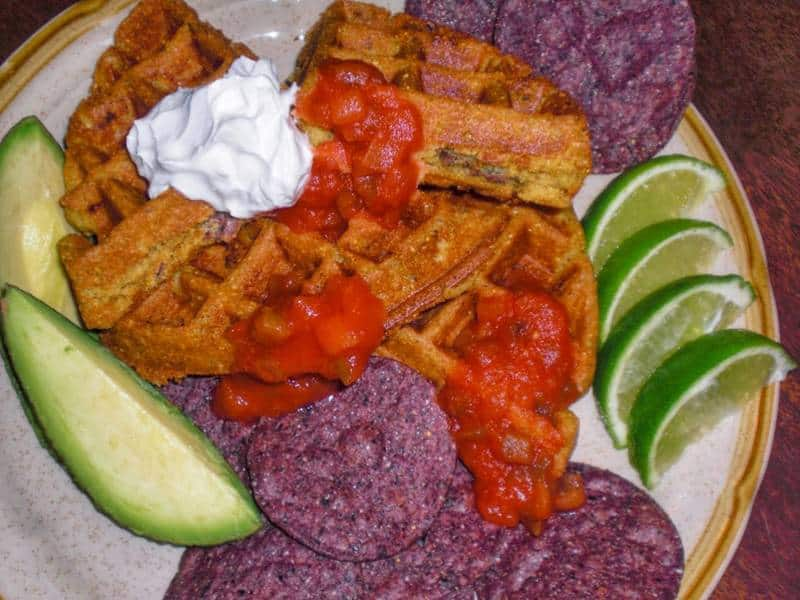 Spicy Blue Tortilla Chip Vegan Waffles