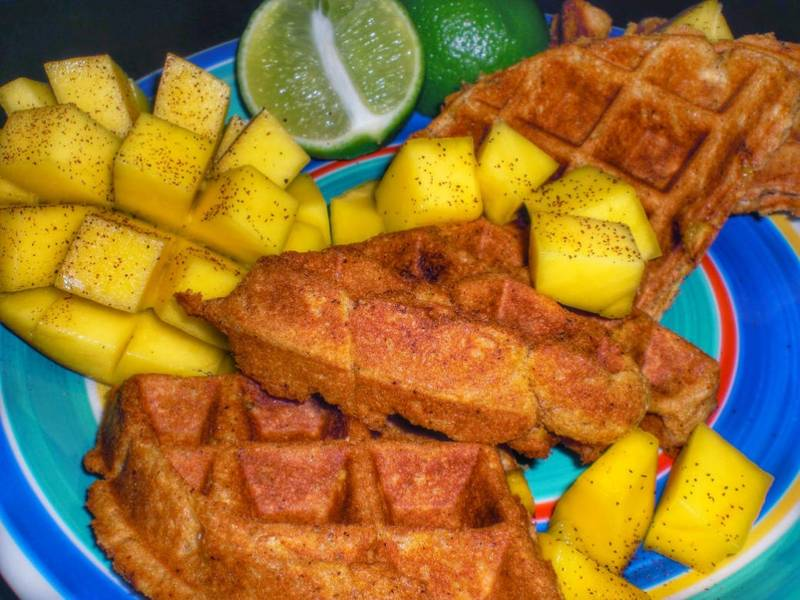 Mango-Chili Vegan Waffles with Fresh Cubed Mango and Lime