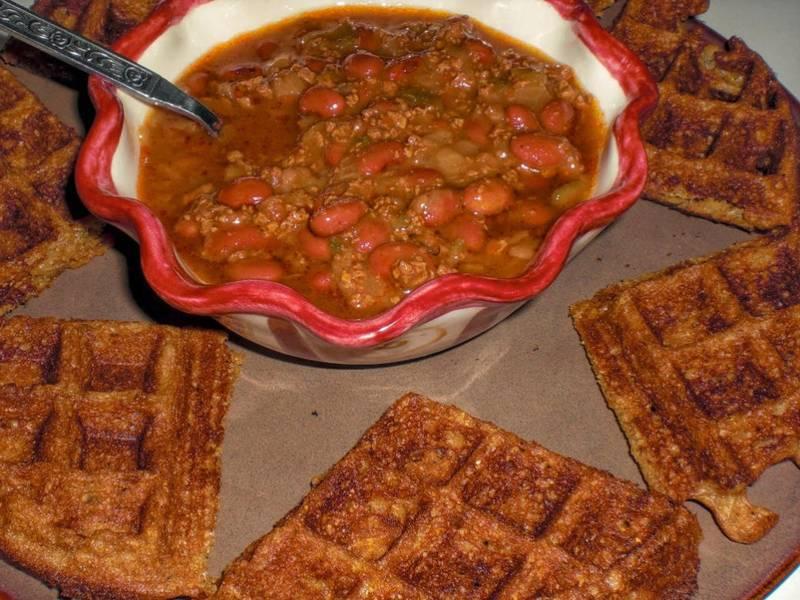 Yeast-Raised Cornmeal Chili Dippin' Vegan Waffles