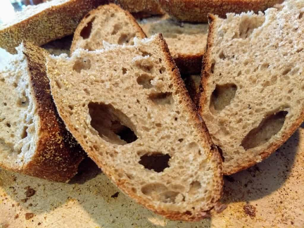 sourdough bread with big holes in crumb