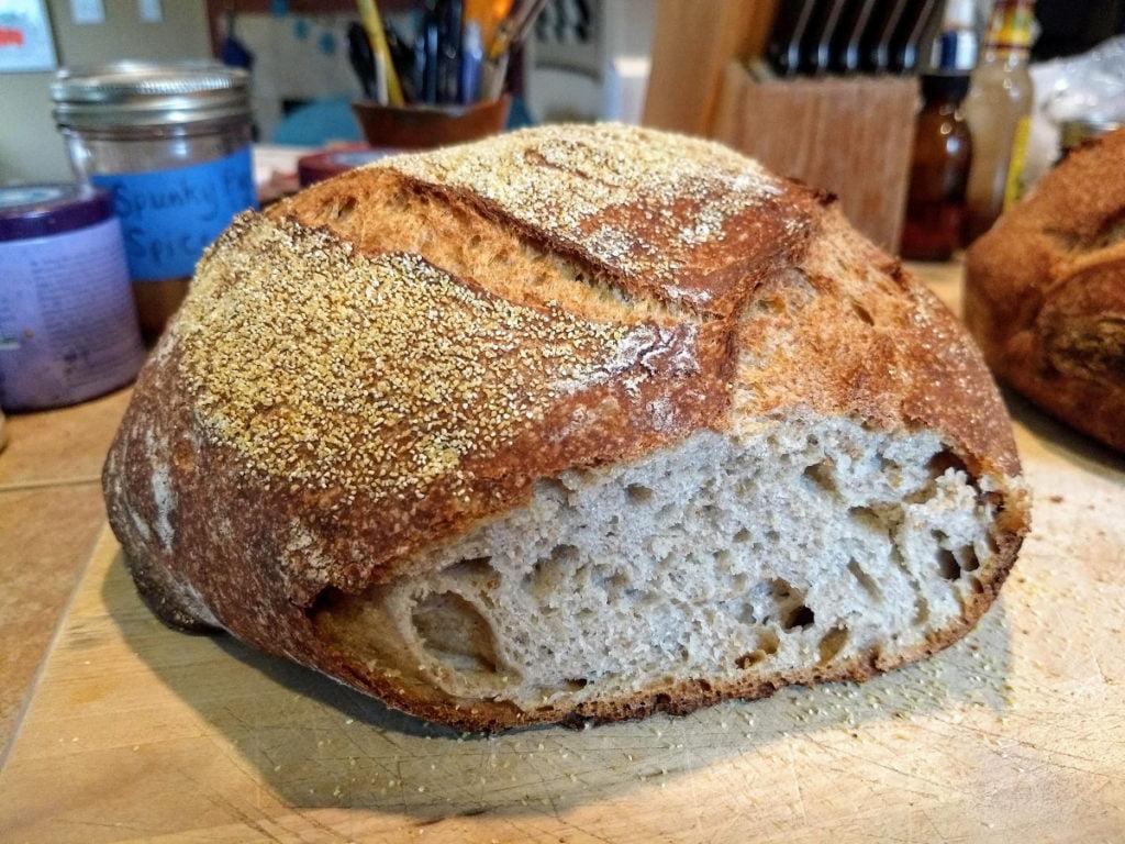 homemade sourdough bread side view
