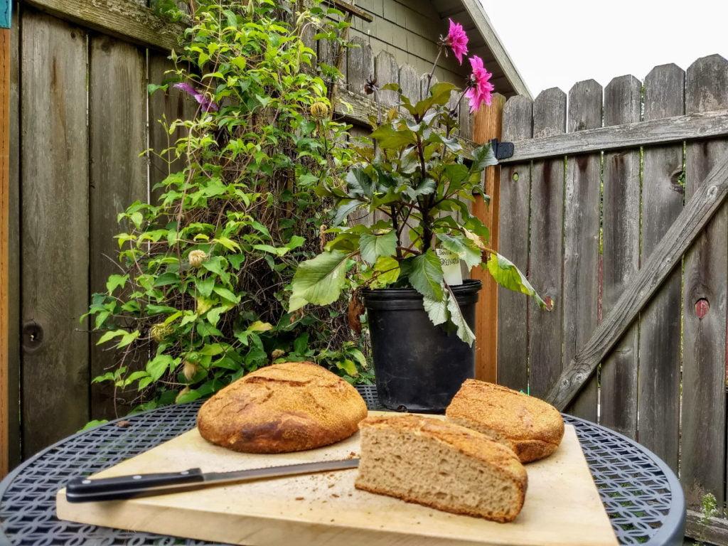 sourdough bread with dahlias