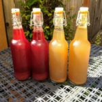 homemade pomegranate and pear kombucha, bottled