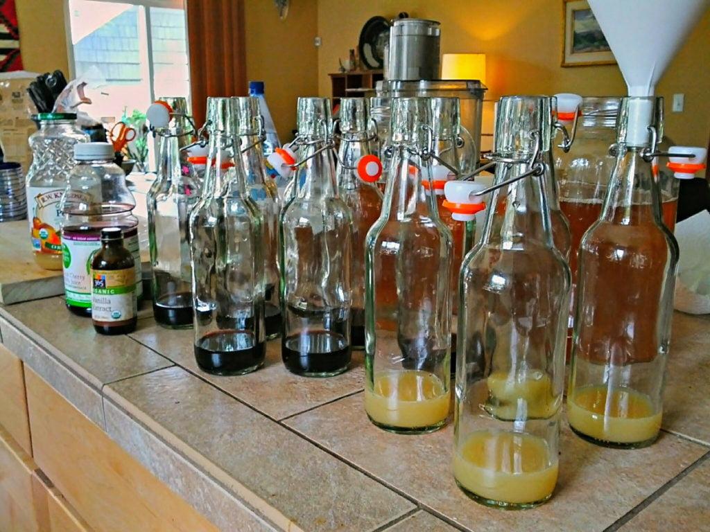 homemade kombucha bottling process